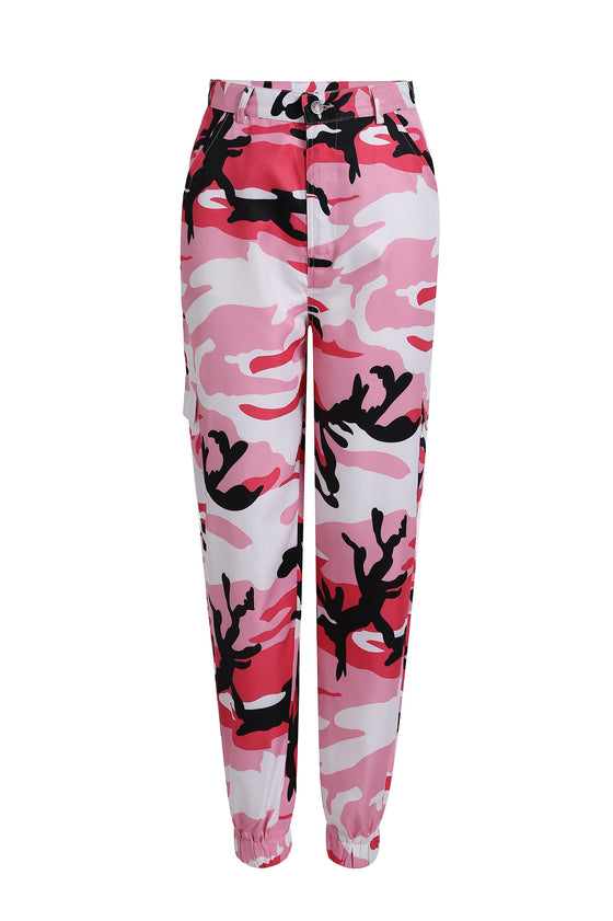 Land of Nostalgia Casual Women's Hip Hop Camouflage Pocket Loose Cargo Jogger Pants