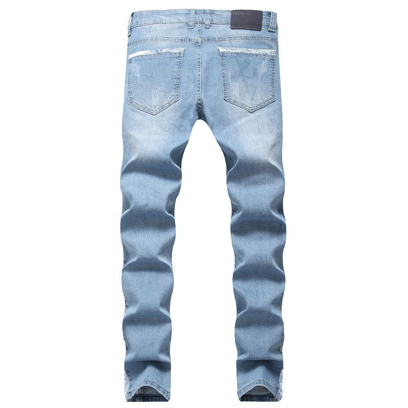 Land of Nostalgia Distressed Hip Hop  Men's Ripped Street Jeans Style