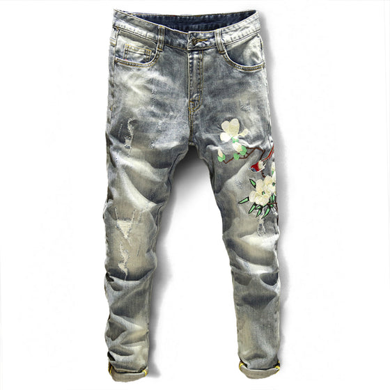 Land of Nostalgia Men's Slim Straight Skinny Jeans with Embroider Flower