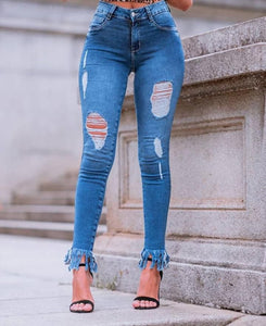 Land of Nostalgia Customized High Waist Ripped Small Leg Women's Jeans