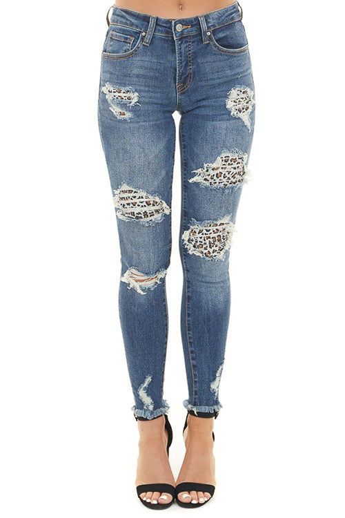 Land of Nostalgia Women's Fashion Skinny Ripped Tight Stretch Pants Denim Jeans