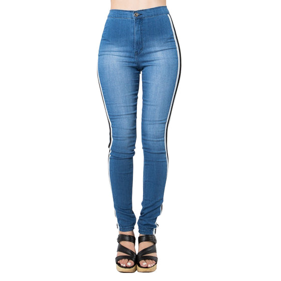 Land of Nostalgia High Waist Elastic Pants with Side Stripe Skinny Women's Sport Jeans