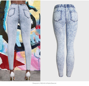 Land of Nostalgia High Waist Elastic Pencil Pants Women's Denim Trousers Jeans