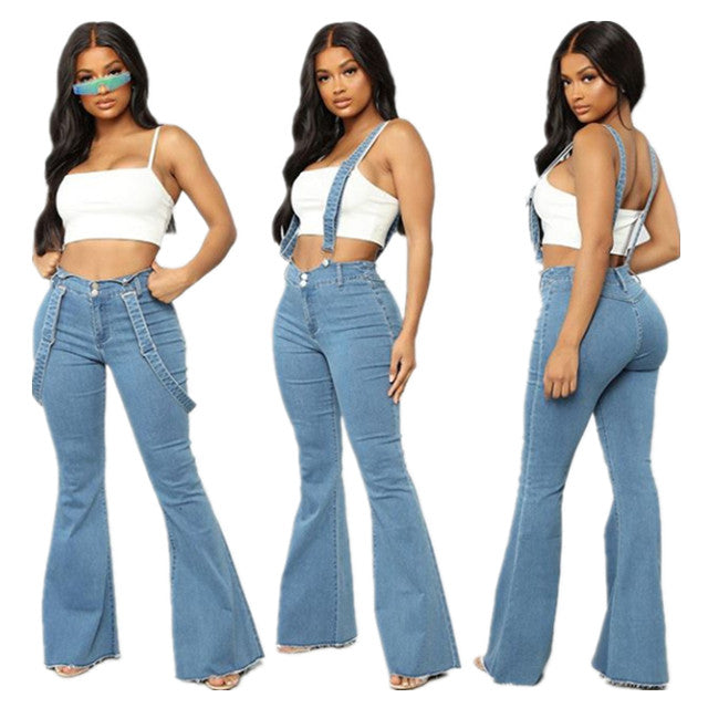 Land of Nostalgia High Waist Distressed Ripped Flare Pants Women's Denim Jeans