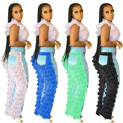Land of Nostalgia High Waist Streetwear Women's Straight Patchwork Trousers Ripped Jeans with Mesh Ruffles