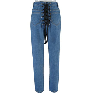 Land of Nostalgia High Street Trousers Women's Slim Fit Creative Back Eyelet Strappy Jeans