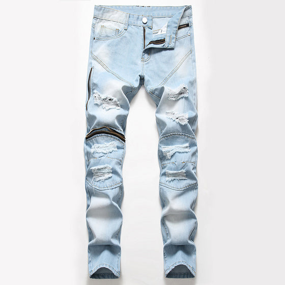 Land of Nostalgia Men's Destroyed Ripped Skinny Stretch Zipper Denim Jeans Pants