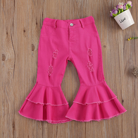 Land of Nostalgia Girls Kids Elastic Waist Flare Button Ripped Hole Pants