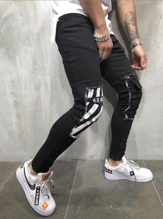 Land of Nostalgia Men's Knee Patches Stretch Pleated Ripped Jeans