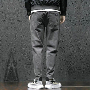 Land off Nostalgia Design Men's Trendy Streetwear Boys Trousers Gray Pants Jeans Denim