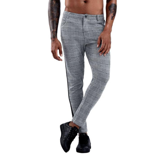 Land of Nostalgia Summer Fashion Men's Sexy Slim Fit Stretch Straight Trousers Casual Jogger Plaid Pants