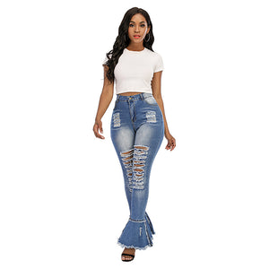 Land of Nostalgia High Waist Sexy Long Bell Bottom Women's Distressed Denim Skinny Trousers Jeans