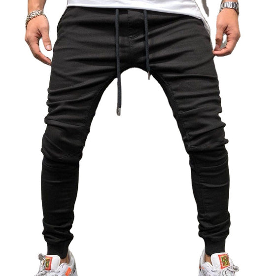 Land of Nostalgia Men's Fashion High Quality Jeans High Street Casual Stretch Drawstring Denim Pants