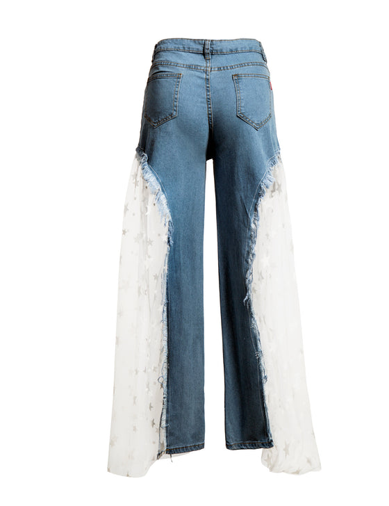 Land of Nostalgia High Waist Loose Wide Leg Casual Pants Women's Flare Denim White Gauze Star Print Denim Jeans