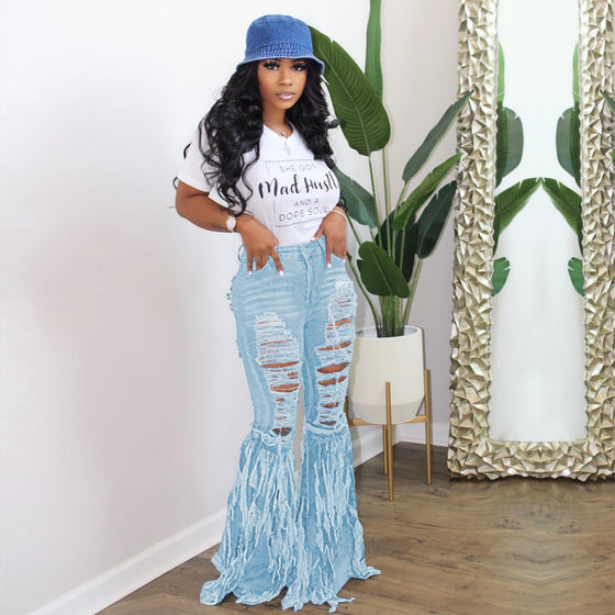 Land of Nostalgia High Waist Customized Bell Bottom Women's Ripped Jeans