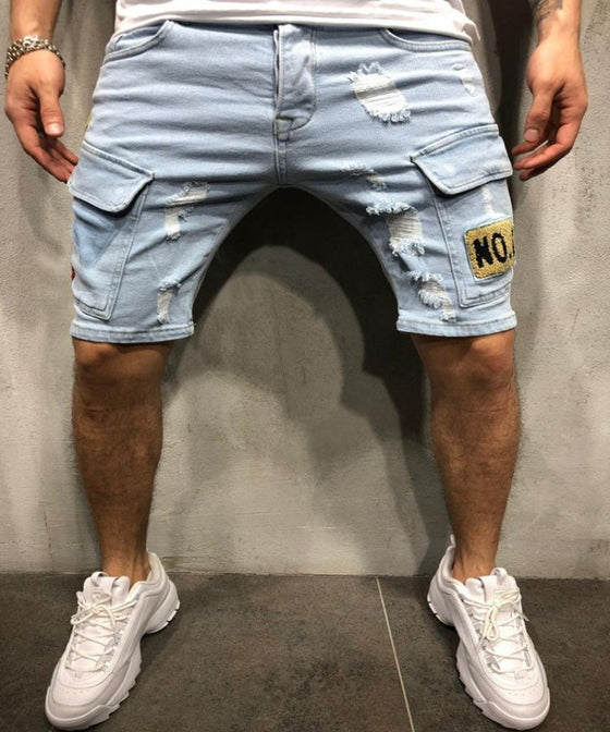 Land of Nostalgia Men's Skinny Straight Patch Pants Blue Jeans Shorts