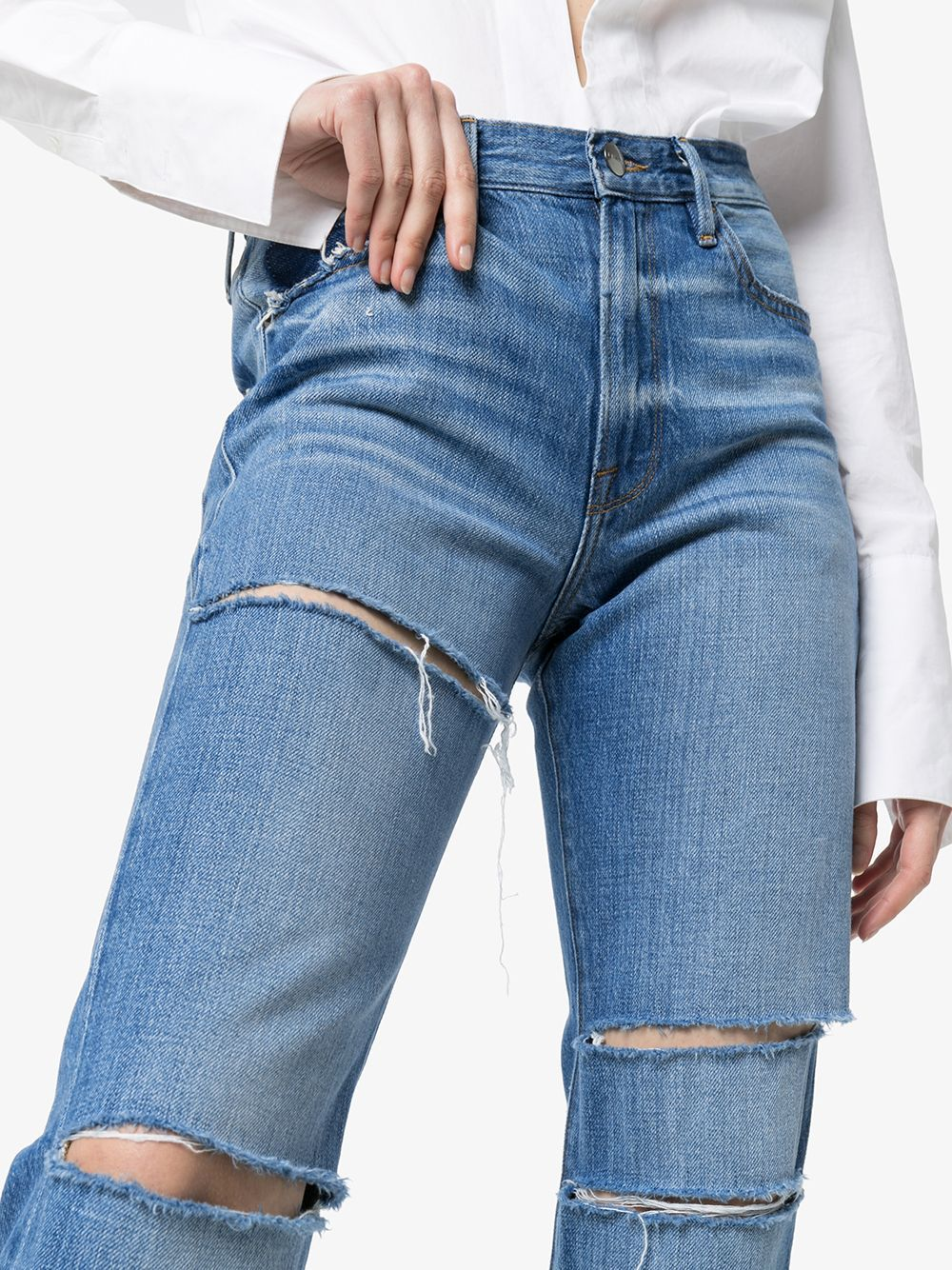 Land of Nostalgia High Waist Destroyed Ripped Straight Denim Pants Women's Jeans