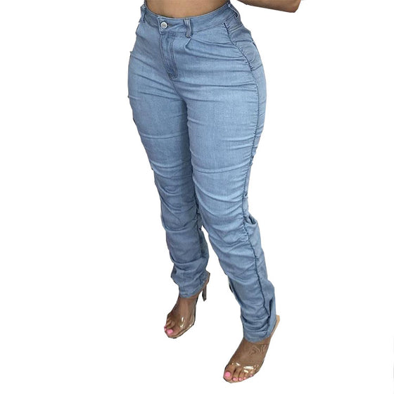 Land of Nostalgia High Waist Ruched Stacked Women's Denim Jeans