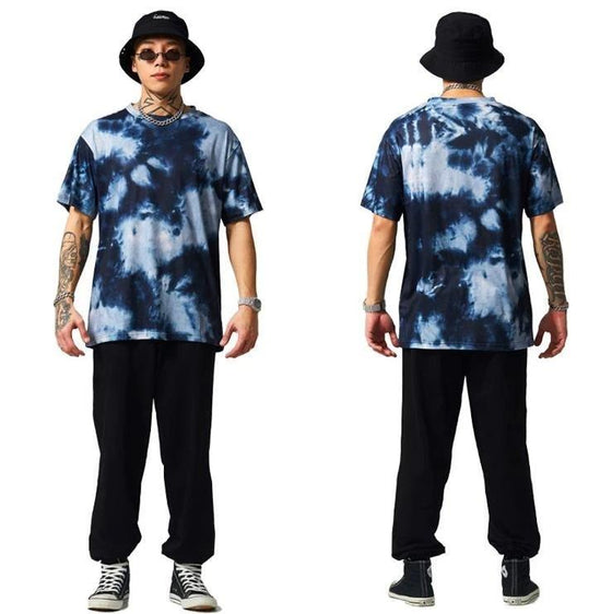 Land of Nostalgia Men's Hip Hop Tie-Dye Streetwear Short Sleeve Casual Tee