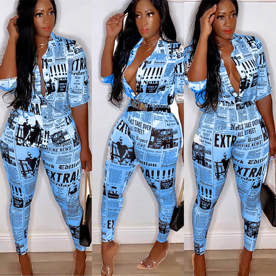 Land of Nostalgia Plus Size Newspaper Print Women's Fall Jumpsuit Set