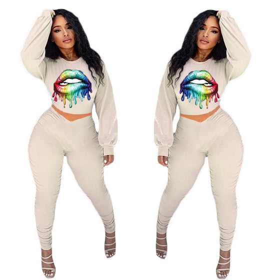 Land of Nostalgia Women's Sexy Printed Lip Loose Hoodie Pants Sets