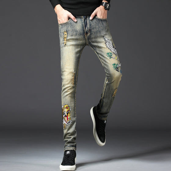 Land of Nostalgia Men's Denim Pants Skinny Jeans with Embroidery Flower Design