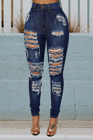 Land of Nostalgia Women's Ripped Streetwear Front Back Casual Skinny Denim Jeans
