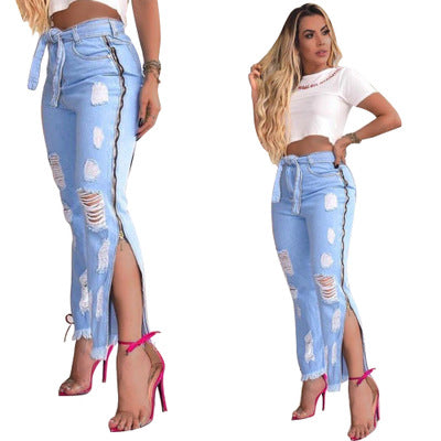 Land of Nostalgia High Waist Straight Loose Split Ripped Trousers Women's Side Zipper Trousers Jeans
