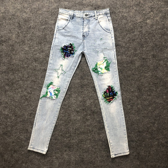 Land of Nostalgia Fashion Light Wash Hip Hot Printing Ripped Patchwork High Street Men Jeans