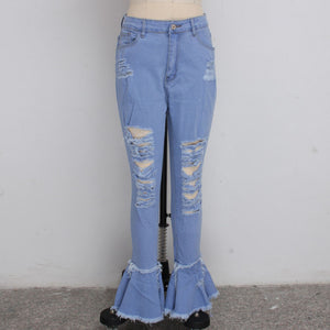 Land of Nostalgia High Waist Bell Bottom Flare Vintage Pants with Holes Patchwork Women's Jeans
