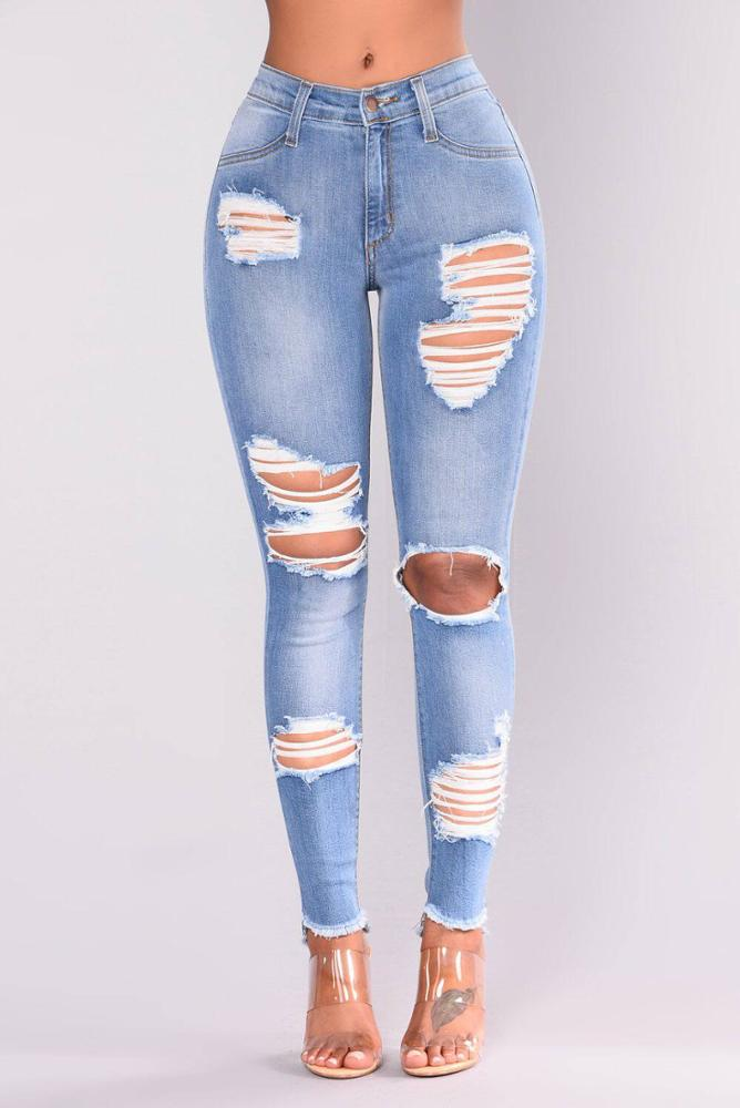 Land of Nostalgia Women's Knee Hole Slim Ripped Trousers Skinny Denim Jeans