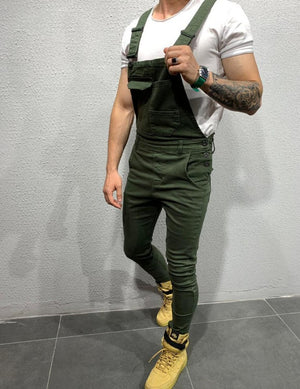 Land of Nostalgia Men's Bib Trousers Overall Jumpsuit Jeans