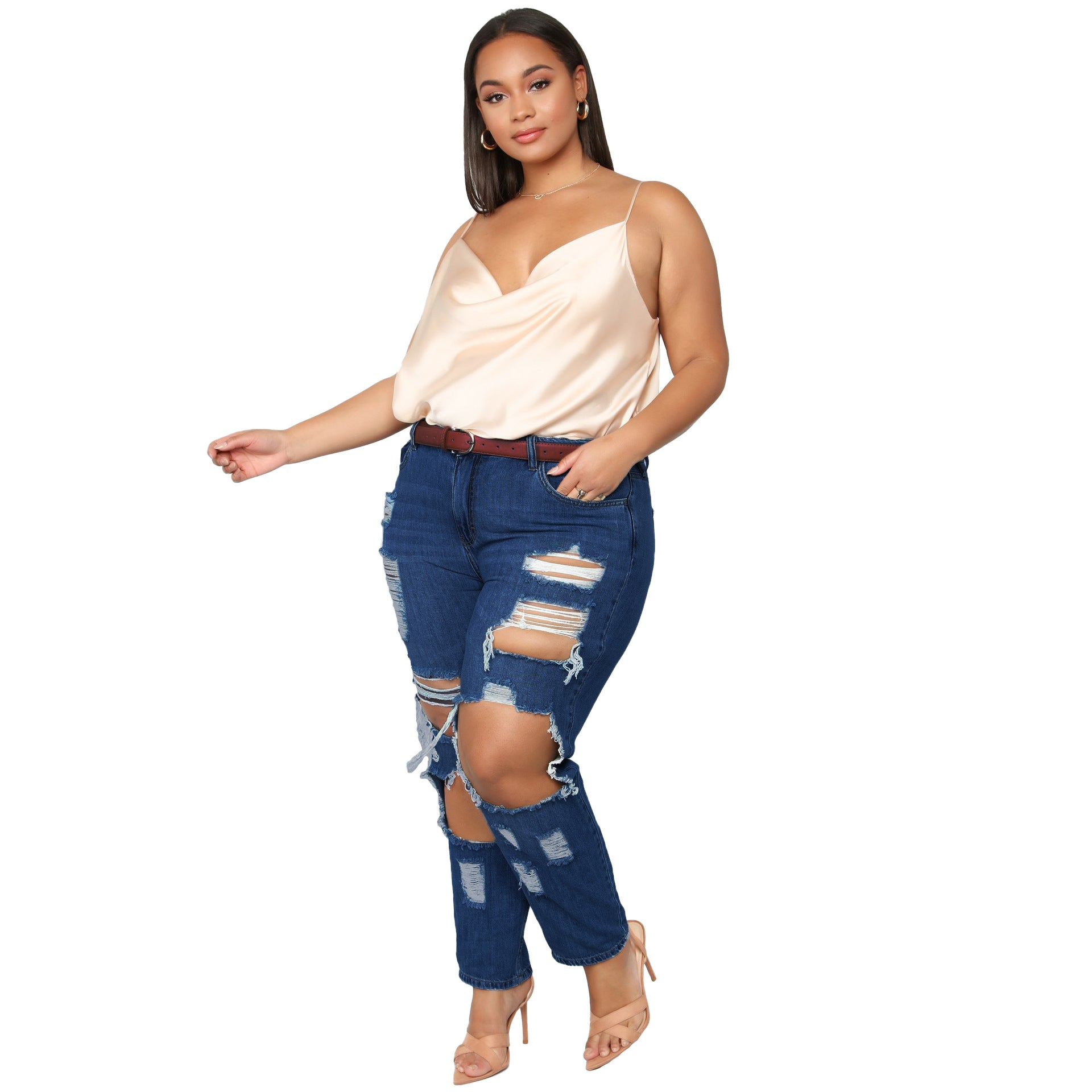 Land of Nostalgia Women's Plus Size Destroyed Ripped Stretch Denim Pants Jeans