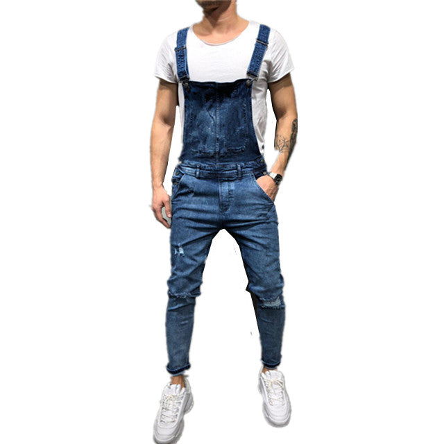 Land of Nostalgia Denim Man Jean Overalls Ripped Trousers Men Jeans Jumpsuit