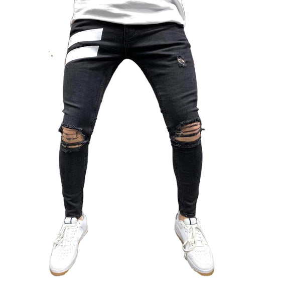Land of Nostalgia Men's Distressed Slim Fit Stretch Ripped Jeans