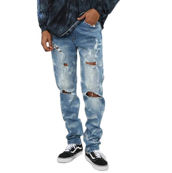 Land of Nostalgia Men's Straight Trousers Hip Hop Punk Ripped Jeans