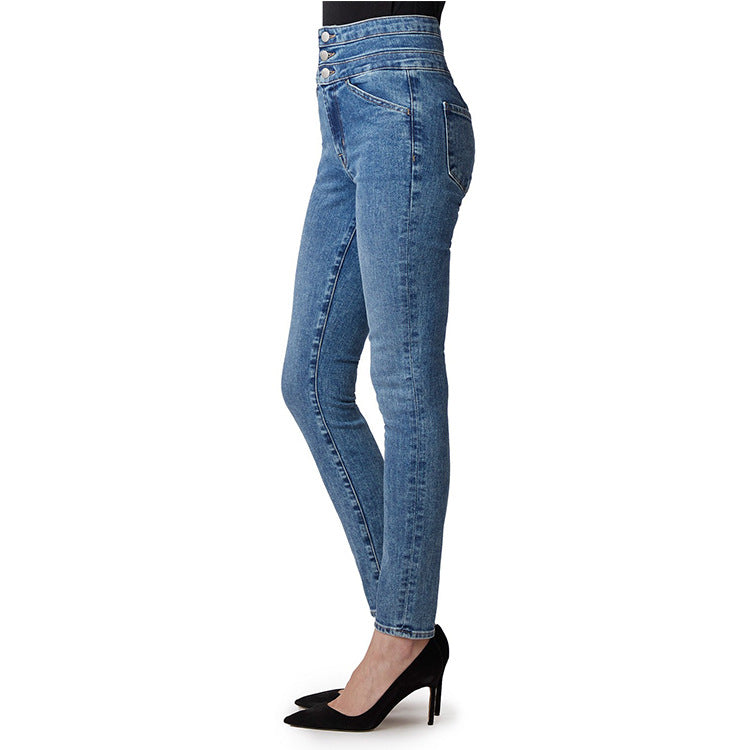 Land of Nostalgia High Waist Super Stretch Button Trousers Skinny Pants Women's Jeans