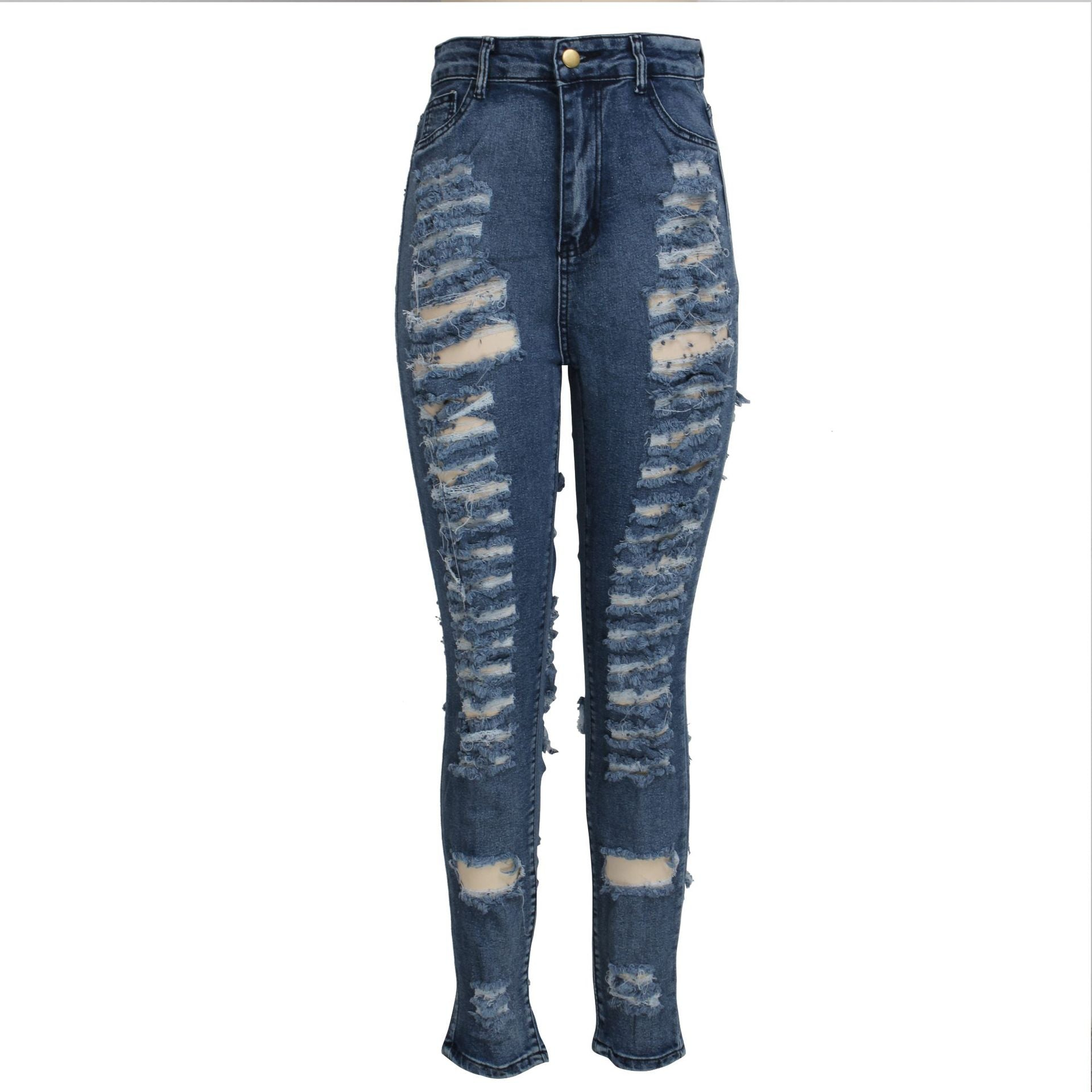 Land of Nostalgia High Waist Distressed Hollow Out Ripped Pants Women's Skinny Slim  Denim Stretch Jeans