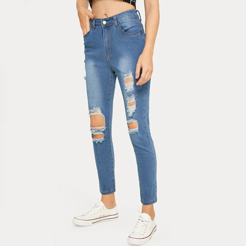 Land of Nostalgia High Waist Ripped Women's Stretch Fashion Denim Jeans