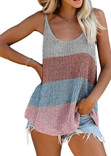 Land of Nostalgia Women's Casual Solid Camis Knitted Crop Tank Tops