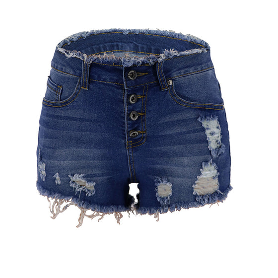 Land of Nostalgia High Waist Women's Fashion Summer Ripped Tassel Sexy Slim Trousers Denim Jeans Shorts