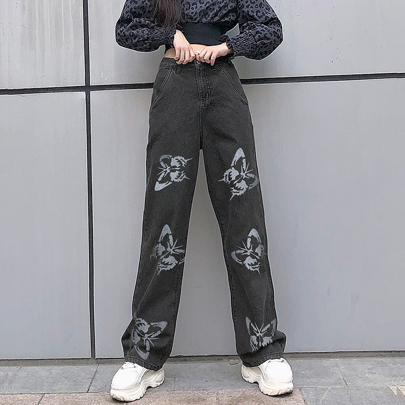 Land of Nostalgia Women's Fashion Loose Casual Straight Pants with Butterfly Print Jeans
