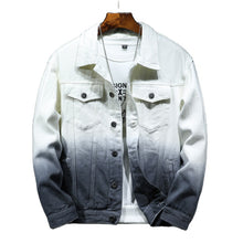 Land of Nostalgia Streetwear Motorcycle Men's Gradient Cotton Denim Jacket