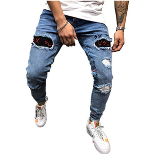 Land of Nostalgia Men's Hip Hop Skinny Jeans Embroidery Ripped Washed Trousers Pants