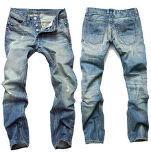 Land of Nostalgia Men's Straight Slim Button Fly Jeans Retro Trousers Pants