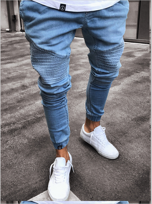 Land of Nostalgia Fashion Pleated Men's Skinny Denim Jeans Pants