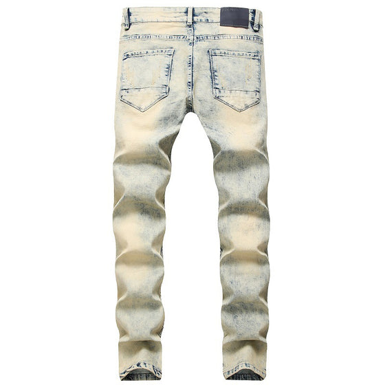 Land of Nostalgia Men's Breathable Distressed Slim Fit Embroidered Bleached Jeans