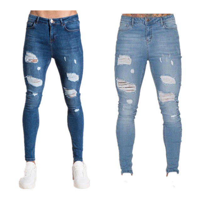 Land of Nostalgia Men's Denim Ripped Jeans Fabric Pants
