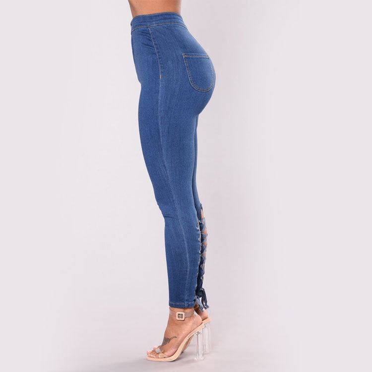 Land of Nostalgia High Waist Elastic Pantalones Women's Bandage Denim Jeans Trousers