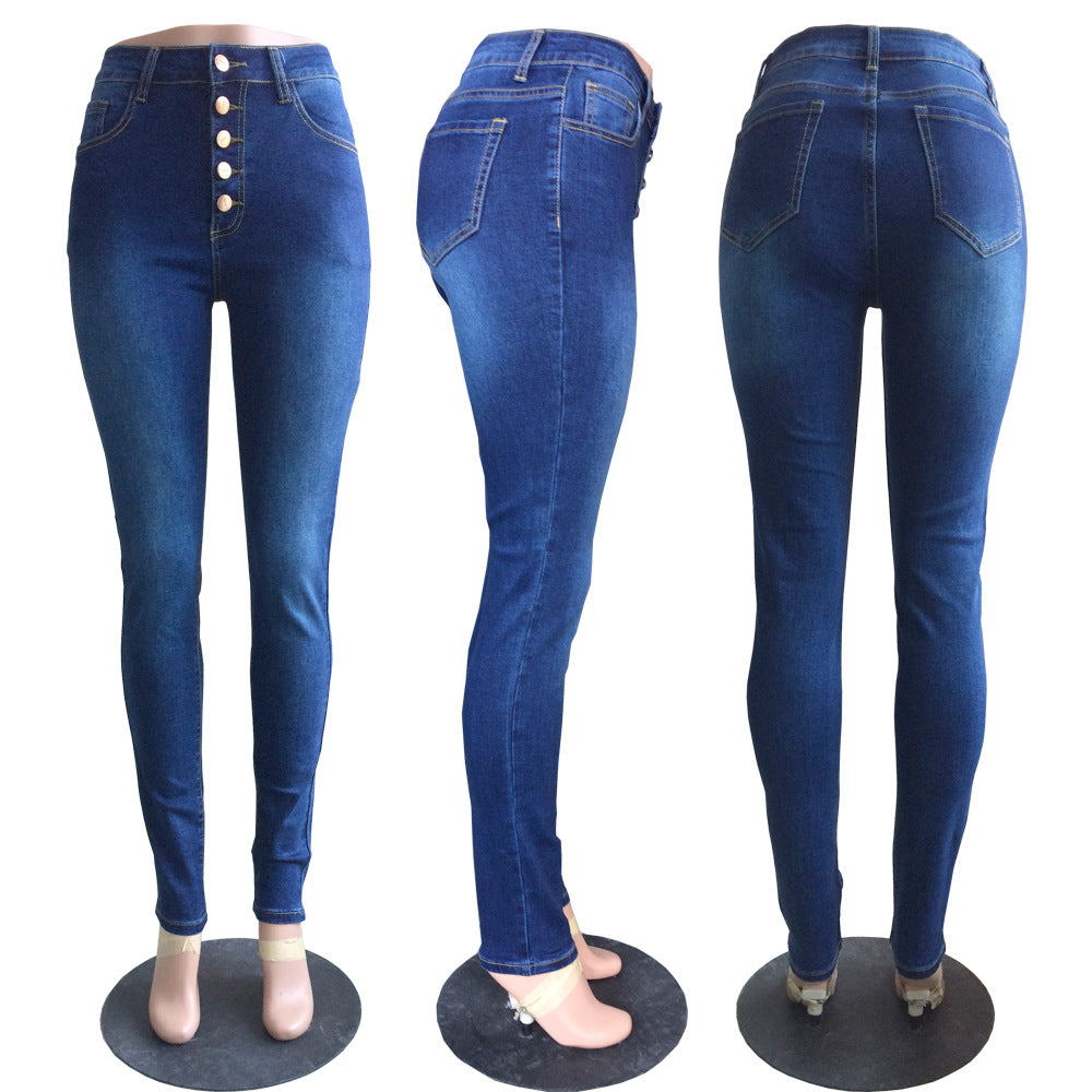 Land of Nostalgia High Waist Women's Trousers Pants Skinny Denim Sexy Jeans